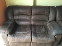 Brown Suede 2 Seater Recliner Sofa