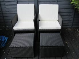 2 RATTAN CHAIRS WITH STOOLS