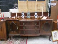 VINTAGE LATE VICTORIAN ORNATE BOW FRONTED SIDEBOARD.VIEWING/DELIVERY AVAILABLE