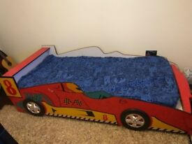 Children Car Bed wooden base , Bright red colour with Mattress