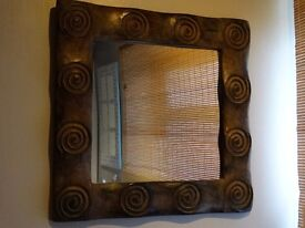 LOVELY WOODEN FRAMED MIRROR 22 X 22 INCHES
