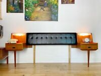Vintage Mid Century Headboard with Teak Floating Nightstands and Lights FREE LOCAL DELIVERY