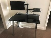 Glass Desk with Rotating Swivel 22inch LCD Monitor Stand/Mount and LCD Monitor