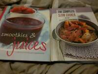 A slow cooker book and a smoothies and juice book