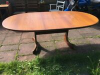 Vintage G Plan Teak Extending Dining Table with Integrated Leaves 1960s70s