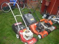 3 petrol mowers and 4 electric mowers 2 strimmers ideal for business start up