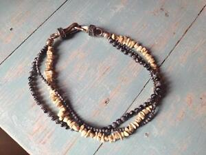 Beaded Necklace/Hammered Silver Clasp Multistrand Never Worn