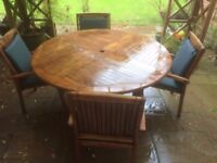 Teak 5ft round Garden Table and 4 Chairs with cushions and Parasol