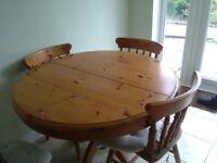 Antique pine solid drum Table