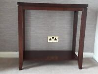 Console Table - Dark Brown Wood with Glass Top