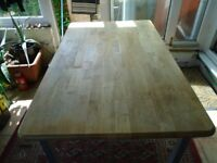 Pine-topped table for workshop, office etc