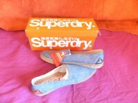 Mens Superdry NAVY MARL Canvas Slip On Trainers NEW IN BOX