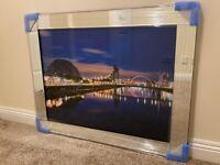 *NEW* Glasgow City Skyline SEC Armadillo Glass Picture Mirror Framed Liquid Art (95x75cm)