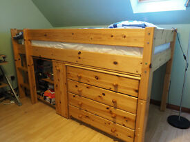 Pine cabin bed with desk, bookcase, chest of drawers