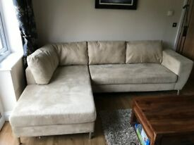 Faux Suede 'L' shaped Cream Sofa