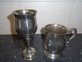 silver plated tankerd and goblet