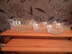 A 7 piece cut glass dessert set. Never used and still boxed.