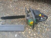"14"" PETROL CHAINSAW, STARTS AND RUNS WELL-SAME AS MCCULLOCH .WITH GOOD CHAIN AND GUARD"