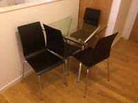 dining table with 4 chairs and small side table