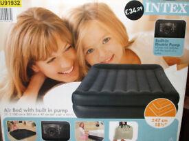 Intex Double size plush air bed/mattress - built in pump