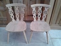 PAIR OF ERCOL CHAIRS STRIPPED TO WOOD RETRO VINTAGE 1960 BLUE LABEL ERA GREAT CONDITION