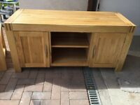 Alto Solid Natural Oak TV Cabinet and Side Table