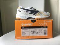 Hi Tec S300 Squash Shoes White/Navy/Black size 8