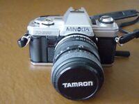 Minolta X300 SLR camera and case