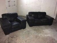 Black leather sofa + chair