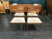 Teak Dining Chairs with Fabric Seat Pads by McIntosh. Retro Vintage Mid Century. Danish Style