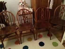 Matching set of 4 Ercol dining table chairs