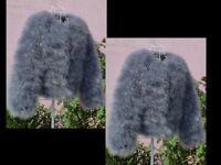 REAL fur ostrich coat padded size 10 12