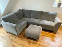 Grey Fabric Corner Sofa with Footstool (Right Hand Facing)