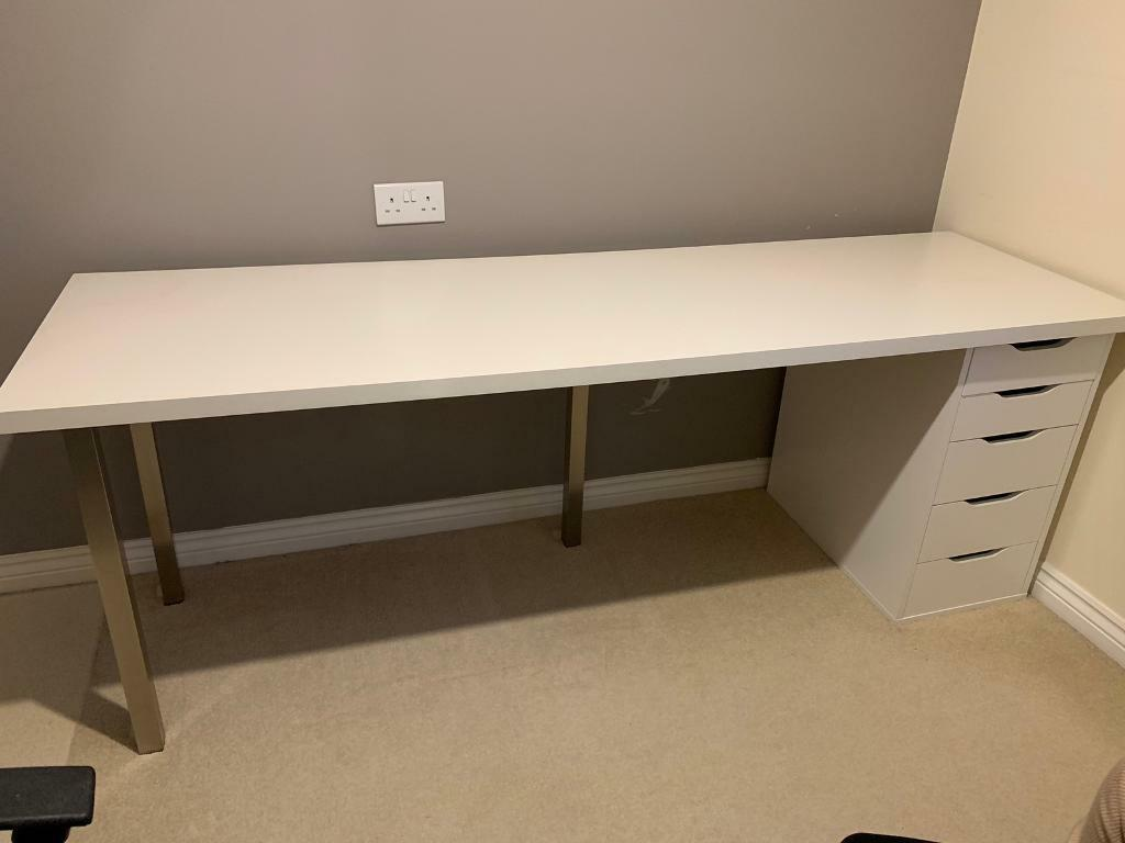Sold White Office Computer Desk Ikea Linmon With Legs And Alex