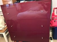Contemporary Chest of Drawers - Glossy Dark Red