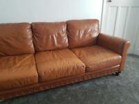 ScS tan 3 seater sofa and chair