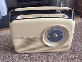 Cream Retro Bush Radio Analogue FM/MW/LW