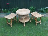Small cane / wicker table & 2 stools