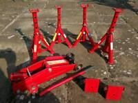Axle stands, trolley jack and wheel chocks