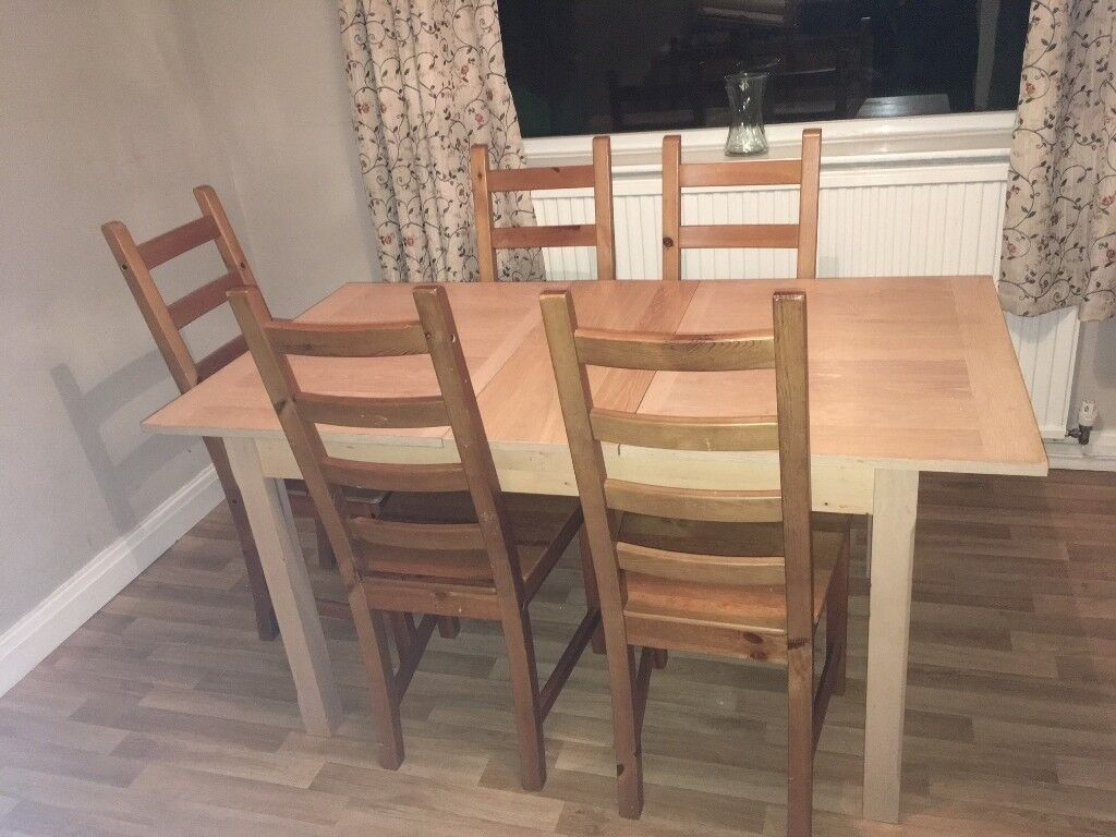 Ikea Kaustby Chairs Antique Stain Solid Wood Dining Table In