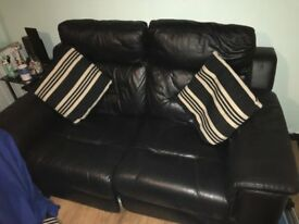 Leather Two Seater Electric Recliner Sofa with Cushions