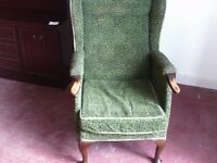 vintage spring seat wood and textile chair.