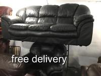 As new black leather 3 and 1 Sofa set