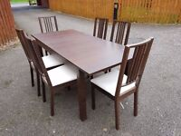 Ikea Bjursta Brown Extending Table & 6 Borje Chairs FREE DELIVERY 0174