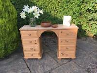 Solid PINE dressing table DESK shabby chic BUN FEET solid wood