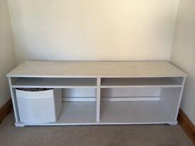 Ikea white storage table unit with storage boxes