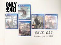 5 x PS4 Games - AC4:Black Flag, CoD:Advance Warfare, Battlefield 1, The Last of Us, WatchDogs