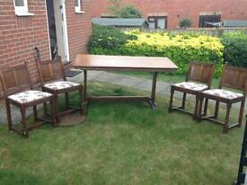 Antique Solid Oak Table with 4 Chairs
