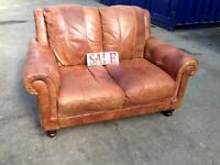 Chesterfield distressed tan leather 2 seater sofa settee tan brown antique vintage