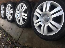 "As_New Genuine Audi 17"" alloy wheels +near new Vredestein tyres VW Caddy A4 A3 Golf"